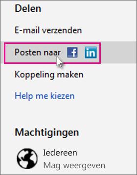 Het sociale netwerk kiezen waarnaar u wilt posten