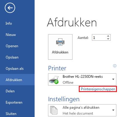 Klik in het scherm Afdrukken op Printereigenschappen.