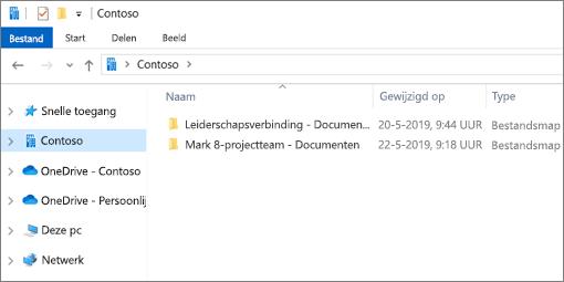 Schermafbeelding met de synchronisatiemappen voor OneDrive en sites.