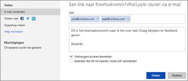 Een koppeling naar uw presentatie verzenden via e-mail