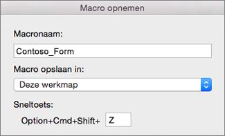 Formulier Macro's opnemen in Excel voor Mac