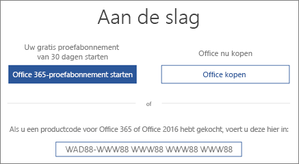 Geeft het scherm 'Laten we aan de slag gaan' weer, wat aangeeft dat een Office 365-proefversie is inbegrepen bij deze pc
