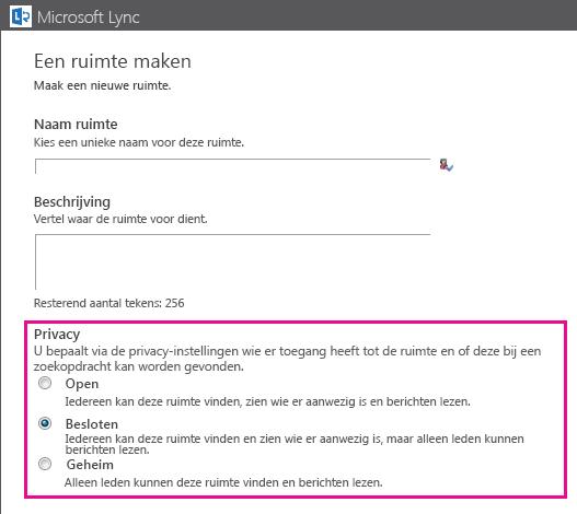 Screenshot van venster Een chatruimte maken met lidmaatschapsopties gemarkeerd