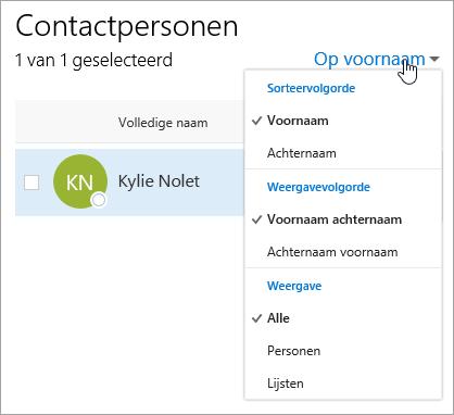 Een schermafbeelding van de vervolgkeuzelijst voor filteren op de pagina Personen.