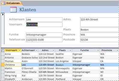 Een gesplitst formulier in een Access-bureaubladdatabase