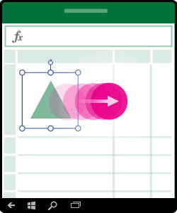 Illustratie waarin het verplaatsen van een vorm, grafiek of ander object wordt getoond