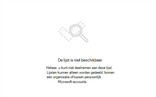 Schermafbeelding van het foutbericht lijst niet beschikbaar