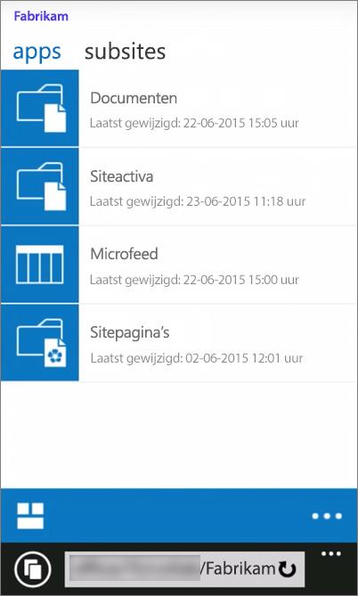 Schermafbeelding van een mobiele weergave van een SharePoint Server 2016-site