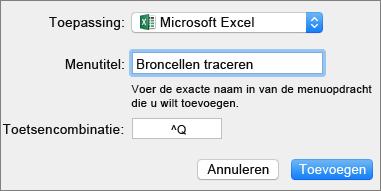 Voorbeeld van aangepaste sneltoets voor Office 2016 voor Mac