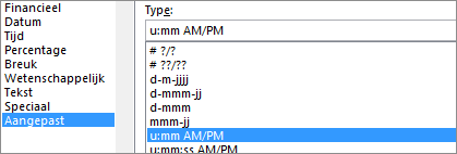 Het dialoogvenster cellen opmaken, opdracht aangepast, het type u:mm AM/PM