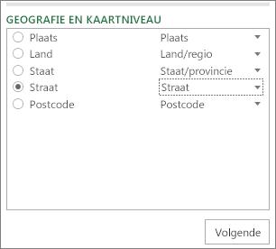 Geografie en het kaartniveau in het taakvenster