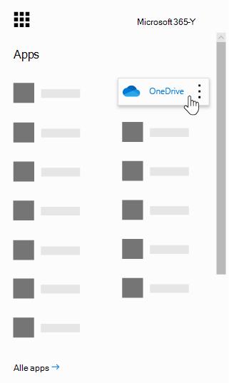 Het startprogramma voor Office 365-apps, met de OneDrive-app gemarkeerd.