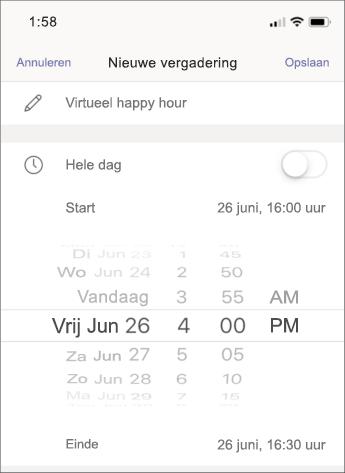 Vergaderingsinstellingen - mobiele schermafbeelding