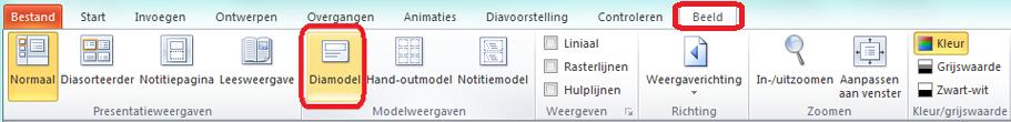 Het tabblad Beeld in PowerPoint, waar u kunt overschakelen naar de diamodelweergave