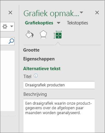 Schermafbeelding van het gebied Alternatieve tekst van het deelvenster Grafiekgebied opmaken met een beschrijving van de geselecteerde draaigrafiek