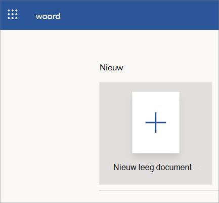Word online openen pagina met nieuw, leeg document