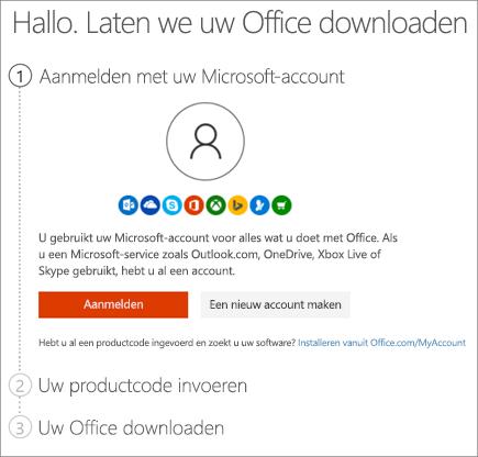 Toont de pagina setup.office.com waar u uw productcode kunt inwisselen