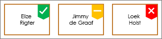 Shapes met groen vinkje, gele badge en rood X-badge