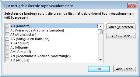 dialoogvenster lijst met geblokkeerde topniveaudomeinen