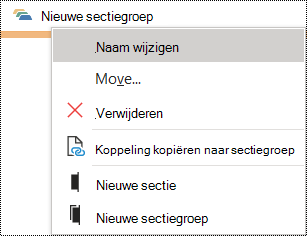 Dialoogvenster De naam van een sectiegroep wijzigen in OneNote voor Windows