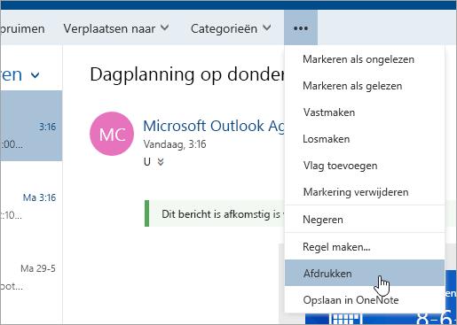Schermafbeelding van het menu Meer acties met de cursor boven de knop Afdrukken