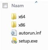 Mapstructuur van de platformkiezer voor de installatie van de 64-bits versie van Office 2010.