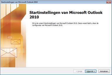 Opstartvenster van Outlook 2010