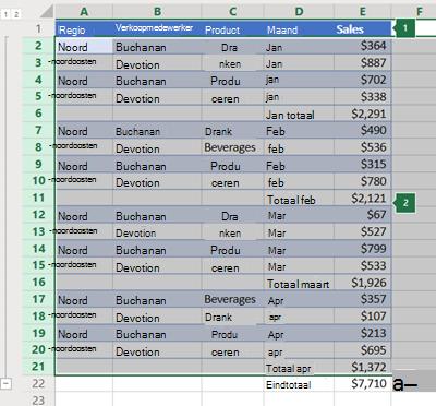 Overzicht van rijen in Excel online