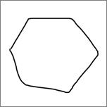 Geeft een met de hand getekende zeshoek weer.