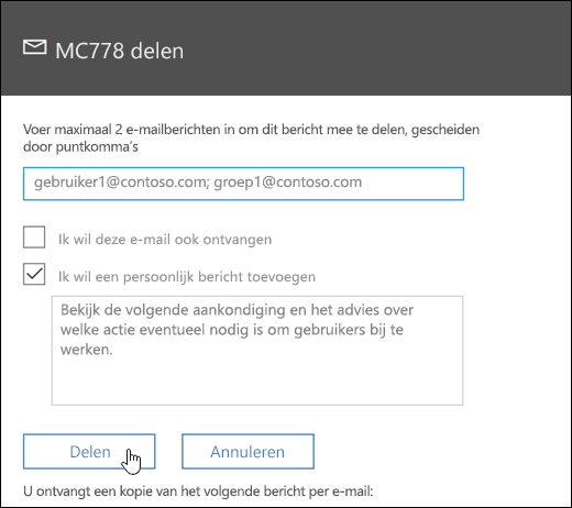 Schermafbeelding van het bericht scherm delen
