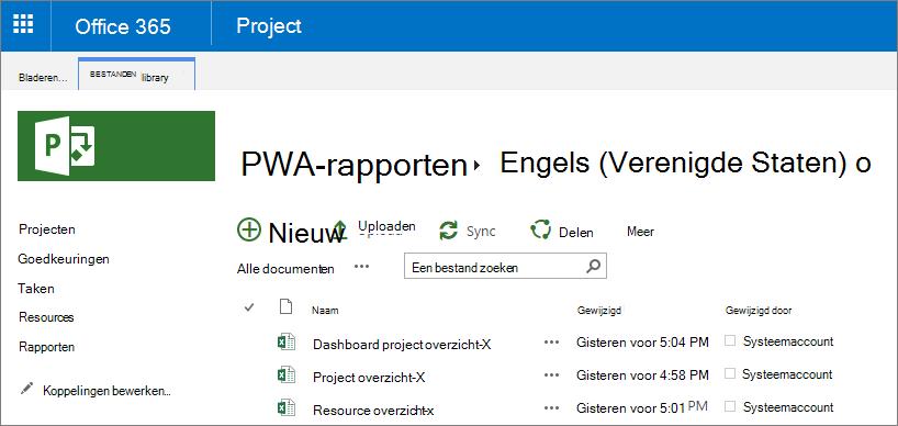Kies uw taal op de pagina PWA-rapporten.