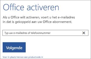 Het dialoogvenster Activeren, waar u zich kunt aanmelden om Office te activeren
