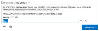 Een koppeling naar een webpagina opgemaakt als tekst