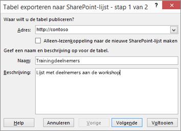 dialoogvenster van de wizard Exporteren naar Sharepoint