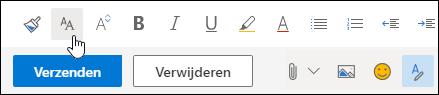 Scherm afbeelding van de optie teken grootte op de werk balk opmaak.