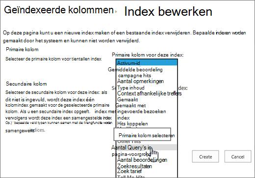 Indexpagina bewerken met de kolom uit de vervolgkeuzelijst geselecteerd