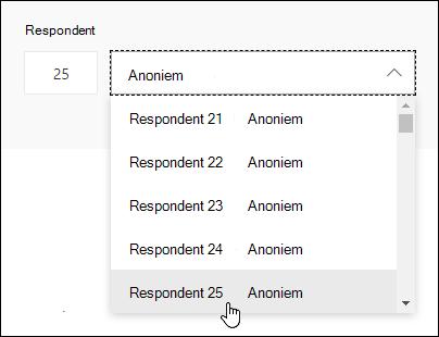 Voer in het zoekvak van de respondent een specifiek nummer in om de details van het antwoord van die persoon weer te geven in Microsoft Forms