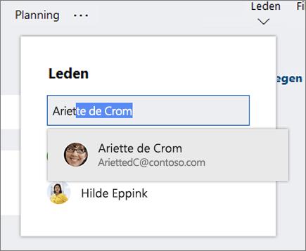 Schermafbeelding van de lijst met leden wanneer de naam van een nieuw planlid wordt ingevoerd.