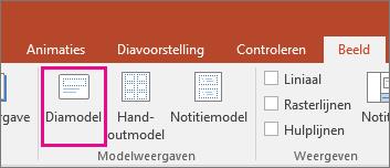 hiermee wordt in PowerPoint de knop Diamodel op het lint weergegeven
