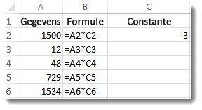 Gegevens in kolom A, formules in kolom B en het getal 3 in cel C2