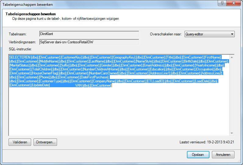 sql-query waarmee de gegevens worden opgehaald