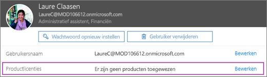 Schermafbeelding van gegevens van de gebruiker met de naam Laure Claasen. Het gebied Productlicenties laat zien dat er geen producten zijn toegewezen aan de gebruiker en dat de optie voor bewerken beschikbaar is.