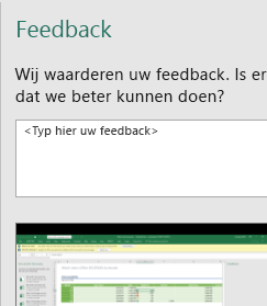 Dialoogvenster Feedback in Excel