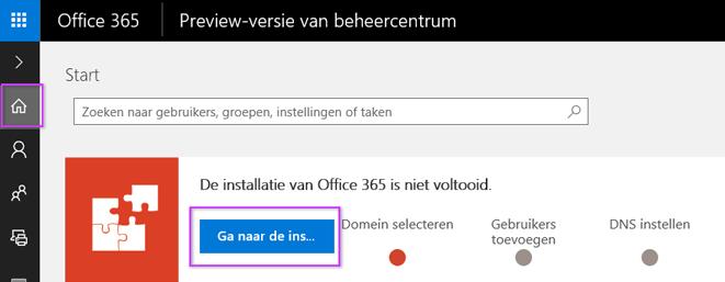 Office 365-beheercentrum instellen