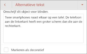 Dialoogvenster Alternatieve tekst voor een afbeelding in PowerPoint voor Android.