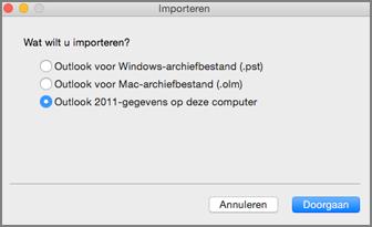 Scherm Importeren met Outlook 2011-gegevens op deze computer geselecteerd