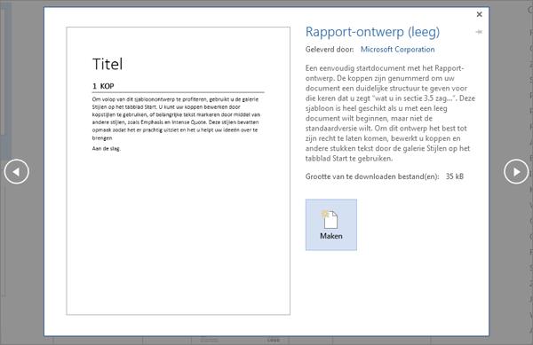 Een voorbeeldsjabloon voor het ontwerpen van rapporten in Word 2016.