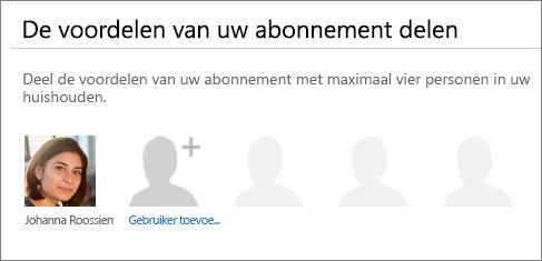 Schermafbeelding van de sectie De voordelen van uw abonnement delen van de Office 365-pagina waarop de koppeling Gebruiker toevoegen wordt weergegeven.