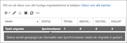 Migratiebatch wordt gesynchroniseerd