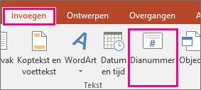 hiermee wordt in PowerPoint de knop Dianummer op het lint weergegeven